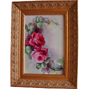 Gorgeous Large Hand Painted Framed Porcelain Plaque  with beautiful Roses.