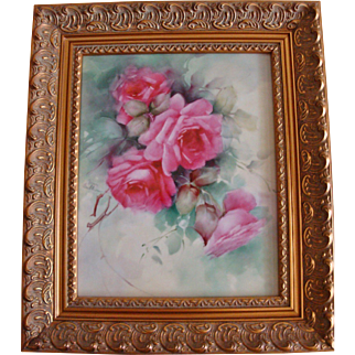 Gorgeous Large Hand Painted Framed Porcelain Plaque with beautiful Roses Artist Signed