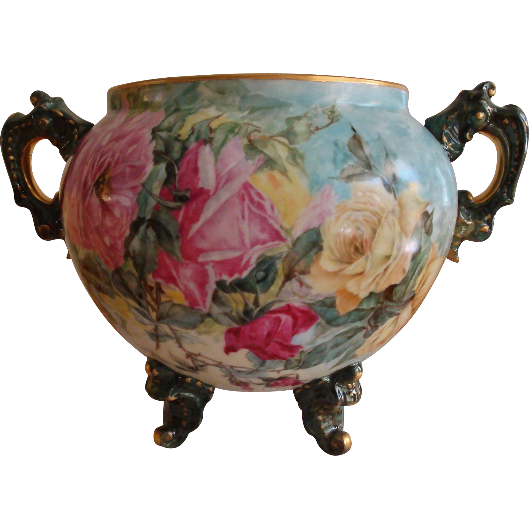 Museum Quality Antique Limoges France Hand Painted Huge Porcelain French Jardiniere Vase Spectacular Roses.