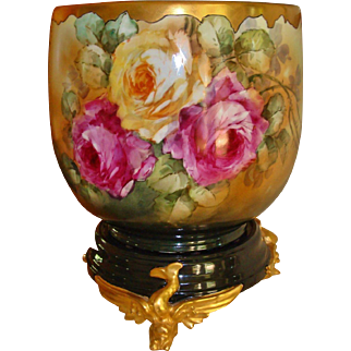 Superb Huge Antique Limoges France Jardiniere Vase Urn Planter Spectacular Roses