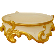 Antique Limoges France Hand Painted Pedestal Base Plinth for Punch Bowl, Jardiniere or Vase