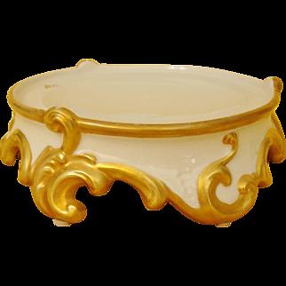 Antique Limoges France Hand Painted Pedestal Base Plinth for Punch Bowl, Jardiniere or Vase