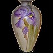 Super American Belleek Hand Painted Porcelain Vase with Iris