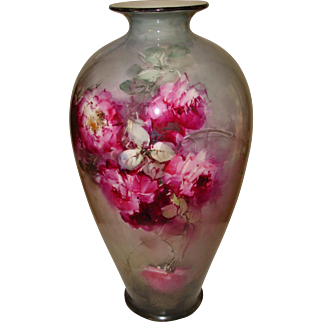Spectacular Antique Porcelain American Belleek Vase Urn Gorgeous Hand Painted Roses