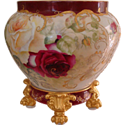 Museum Quality Antique Limoges France Hand Painted Porcelain Pedestal Plinth Jardiniere Gorgeous Roses