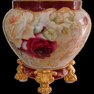 Museum Quality Antique Limoges France Hand Painted Porcelain Pedestal Plinth Jardiniere Gorgeous Roses