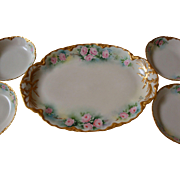 Gorgeous Haviland Limoges France Hand Painted Porcelain Dessert Set Roses