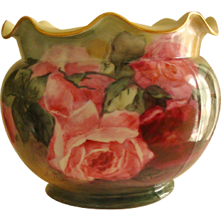 Spectacular Antique Limoges France Hand Painted Porcelain Jardiniere Rose Bowl Vase Planter with Roses Ca. 1890's