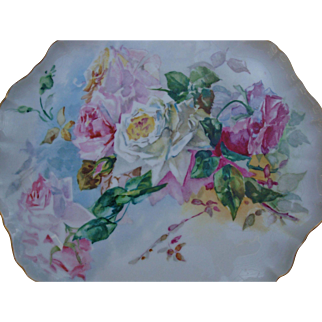 Large Antique Limoges France Hand Painted Porcelain Tray for Punch Bowl Jardiniere or Vase