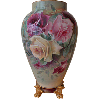 Spectucular Antique Limoges France Hand Painted Porcelain Vase Roses China Painting Ca. 1894