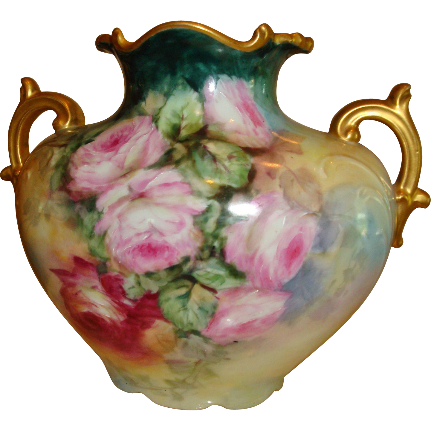 Amazing Antique Limoges France French Hand Painted Porcelain Pillow Vase Urn Gorgeous Roses