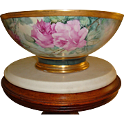 Magnificent Limoges France Hand Painted Porcelain Punch Bowl Gorgeous Roses
