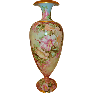 Superior Antique Limoges France Museum Quality 19th Century Hand Painted Large Floor Vase with Gorgeous flowers Artist Signed and Dated