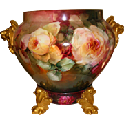 Gorgeous Hand Painted Antique Limoges France Porcelain Jardiniere Vase Urn Spectacular Roses