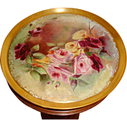 Spectacular Antique American Belleek Large Porcelain Tray for Punch Bowl Jardiniere or Vase Roses