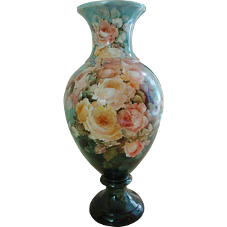 Museum Quality Antique Limoges France Hand Painted French Porcelain Floor Vase Palace Urn Gorgeous Roses. Ca 1899