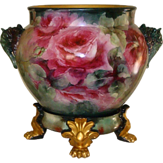 Spectacular Antique Limoges France Hand Painted Porcelain French Jardiniere with Matching Base Elephant Head Handles Roses Ca. 1891