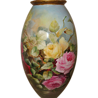 Museum Quality Antique Belleek Hand Painted Porcelain Floor Vase with Spectacular Roses Artist Signed - Dated 1904