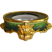 Superb Antique Limoges France Hand Painted Porcelain Punch Bowl Base Plinth for Jardiniere or Vase