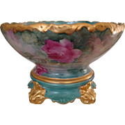 Superb Antique Limoges France Hand Painted Porcelain Punch Bowl with Base Roses.