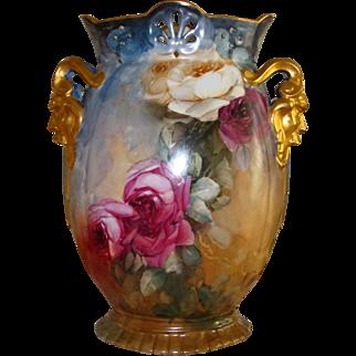 Spectacular Antique Limoges France Gorgeous Unique Rare Mold Hand Painted Porcelain Mantle Vase Victorian Painted Roses