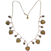 Vintage Pididdly Link Brass Heart Charm Necklace Pink Beads