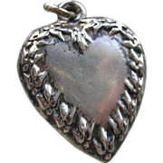 Vintage Sterling Silver Heart Charm Fleur Di Lis