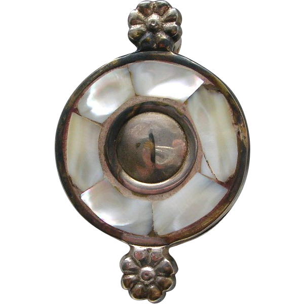 Vintage Mother Of Pearl Magnifying Glass Weight Inlay Floral Silver Plated Brass