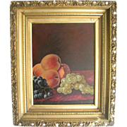 Antique Still Life Oil Painting On Board A C Johnson Signed 1902 Fruit