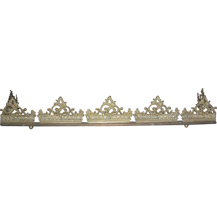 Antique Victorian Solid Brass Fireplace Fender Tiara Crown Style