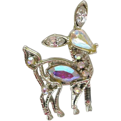 Vintage Rhinestone Deer Pin Doe Aurora Borealis Silver Tone Plated