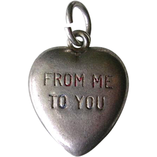 Vintage Sterling Silver Puffy Heart Charm From Me To You Enamel 1940s Engraved Will