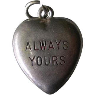 Vintage Sterling Silver Puffy Heart Charm Always Yours Enamel