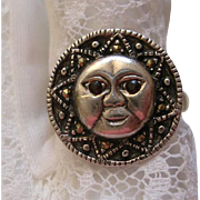 Vintage Sun Moon Face Sterling Silver Ring Marcasite Ruby Glass Eyes