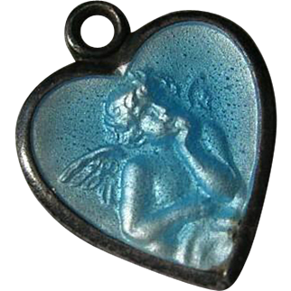 Antique Blue Guilloche Enamel German Angel Cupid Heart Charm Raphael Gott Schutze Dich