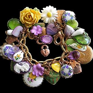 Vintage Brass Charm Bracelet Heart Cameo Flowers Guilloche Locket Pansies