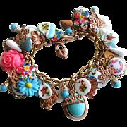 Vintage Brass Charm Bracelet Heart Cameo Flowers