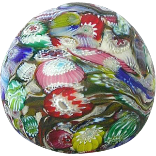 Vintage Murano Millefiore Art Glass Paperweight Satin Fratellli Toso Murrine Design
