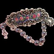 Hand Painted Enamel Rose Flower Silver Cuff Charm Bracelet Vintage Beads