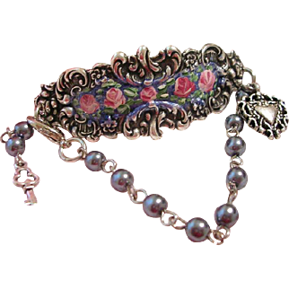 Hand Painted Enamel Rose Flower Silver Cuff Charm Bracelet Vintage Beads