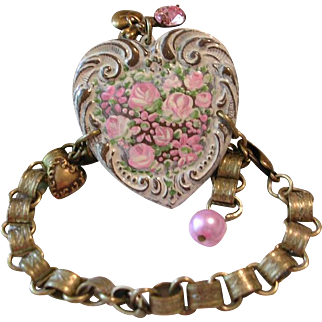 RESERVED for AMANDA Hand Painted Enamel Roses Flower Cuff Heart Charm Bracelet Book Chain