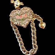Hand Painted Enamel Roses Flower Cuff Heart Charm Bracelet