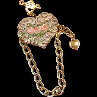 RESERVED for AMANDA Hand Painted Enamel Roses Flower Cuff Heart Charm Bracelet