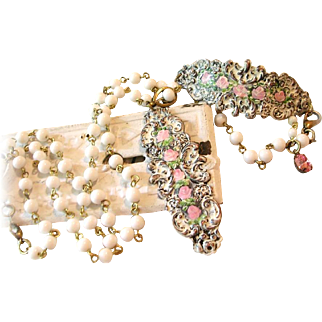 Hand Painted Enamel Roses Flower Cuff Bracelet Necklace White Glass Beads Parure Set