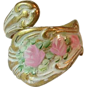 Vintage Brass Ring Spoon Style Painted Roses Enamel Flowers