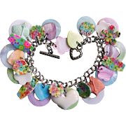 Vintage Mother Of Pearl Heart Charm Bracelet Flowers Pastel Colors