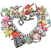 Vintage Heart Charm Bracelet Children Kids Cracker Jack Love Flowers Kitsch Boho