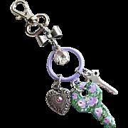 Hand Painted Enamel Roses Vintage Key Charm Pendant Purse Clip Heart Charm