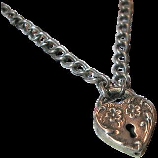Vintage Sterling Silver Heart Charm Padlock Bracelet 1940's Floral