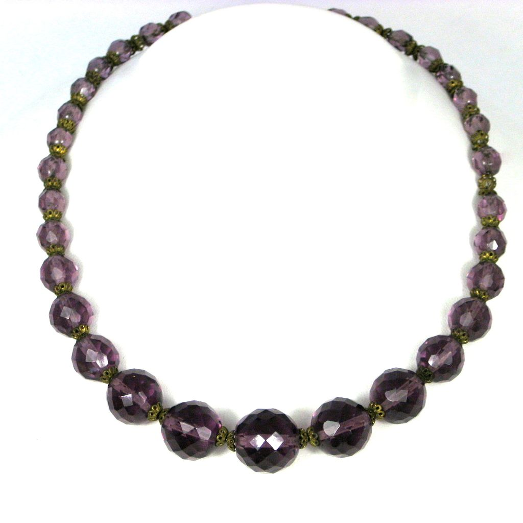 amethyst faceted glass crystal necklace the vintage